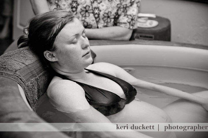 relaxing between contractions during my water birth at gentle beginnings birth center.