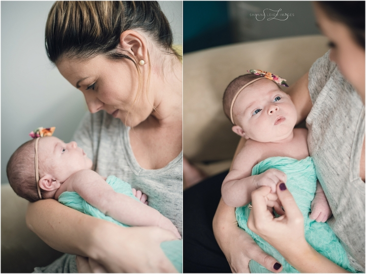 A new mommy and her first born child photographed for their Dallas lifestyle newborn session.